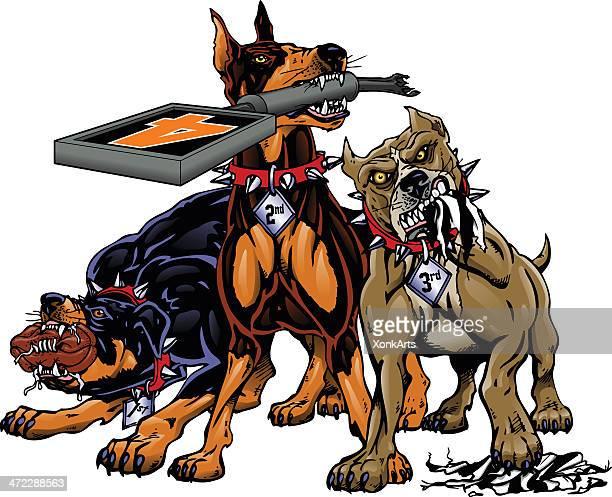 ilustraciones, imágenes clip art, dibujos animados e iconos de stock de tres perros de fútbol - pit bull terrier