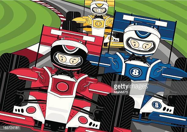 ilustraciones, imágenes clip art, dibujos animados e iconos de stock de tres pueden disfrutar las carreras de fórmula 1 en la pista de coches - circuito de carreras de coches