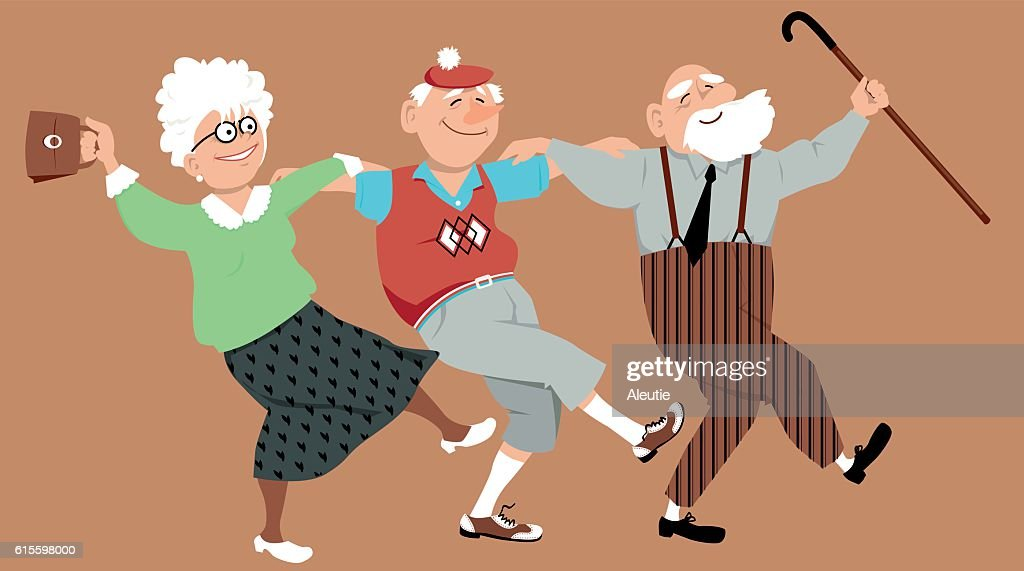 Three friends dancing