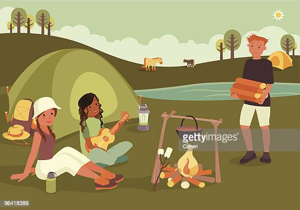 Three Friends Sitting Around Camp Fire with Tent