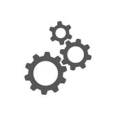 Three gear sign icon on background