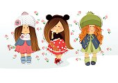 Three girlfriends illustration