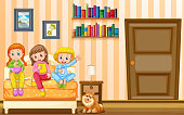 Three girls and pet dog in bedroom