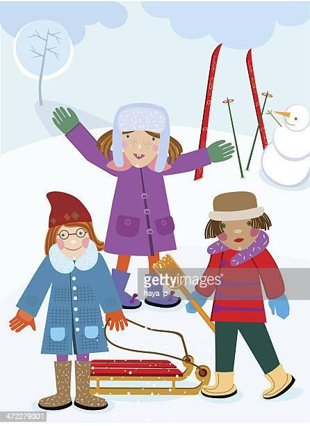 illustrations, cliparts, dessins animés et icônes de trois filles dans le parc en hiver avec bonhomme de neige - ski humour