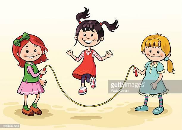 ilustrações, clipart, desenhos animados e ícones de três garotas pulando corda - clip art