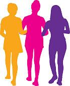 Three Girls Walking Silhouette