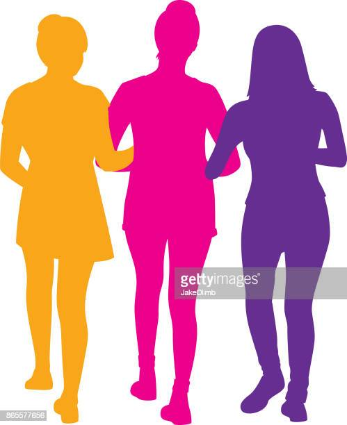 three girls walking silhouette - three people stock illustrations