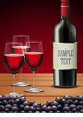 Three glasses red wine with Bottle of champagne and grapes fruits