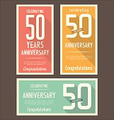 Three graphic rectangles with a 50 year anniversary design