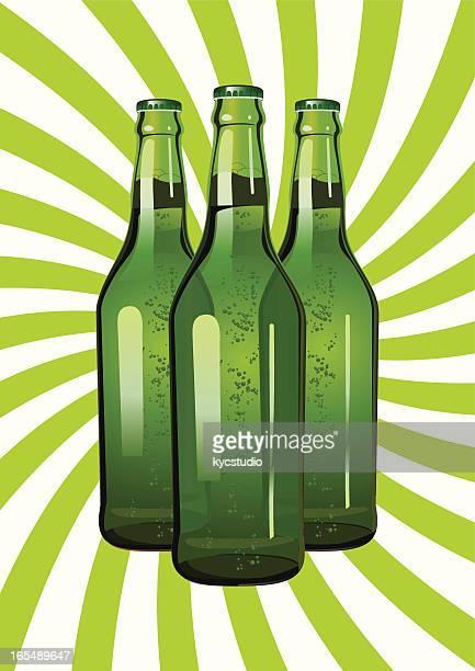 three green glass bottles - lager stock illustrations, clip art, cartoons, & icons