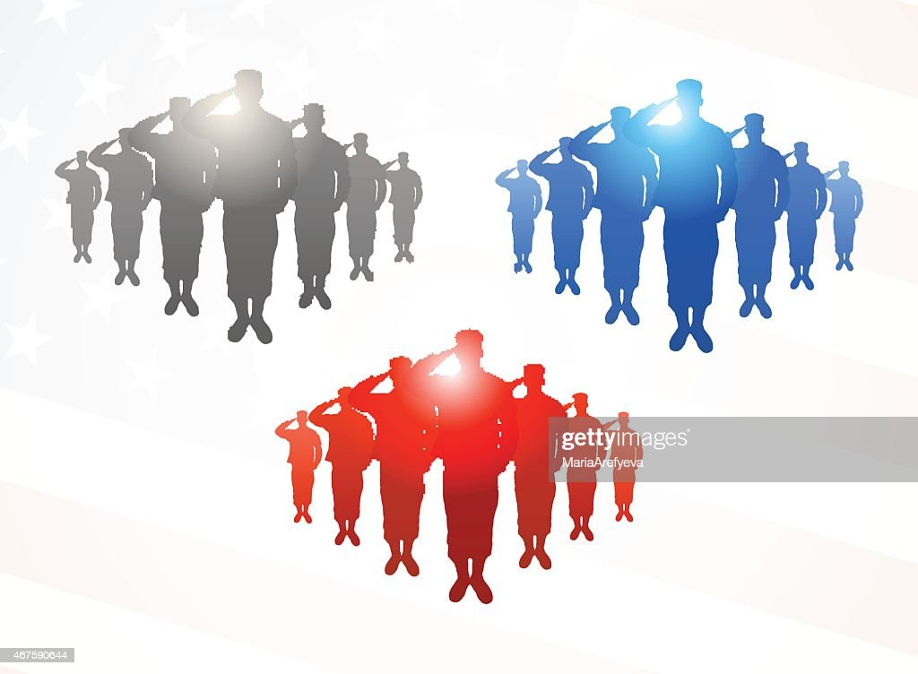 Three  groups of saluting soldiers in grey, blue and red