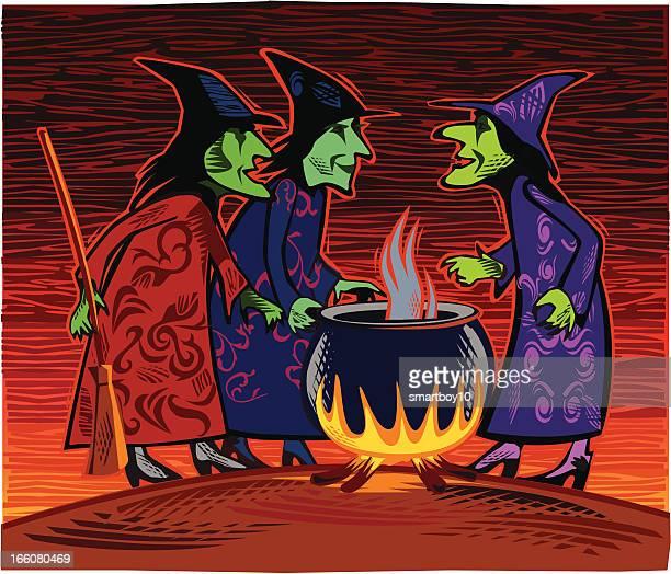 drei halloween hexen - wizard stock-grafiken, -clipart, -cartoons und -symbole