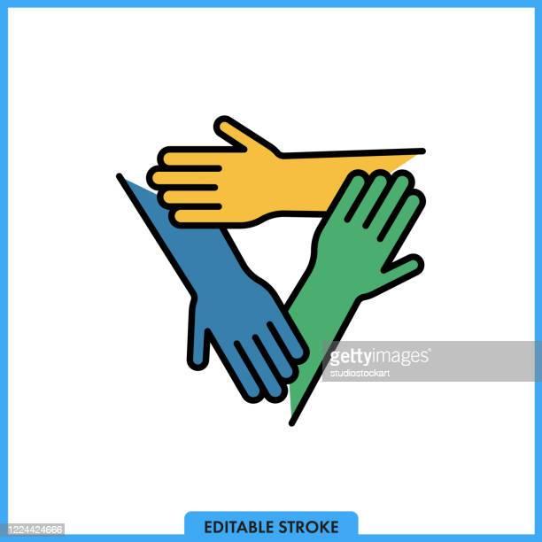three hands line icon.editable stroke - three people stock illustrations