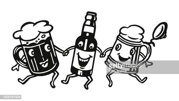 Three Happy Beer Characters