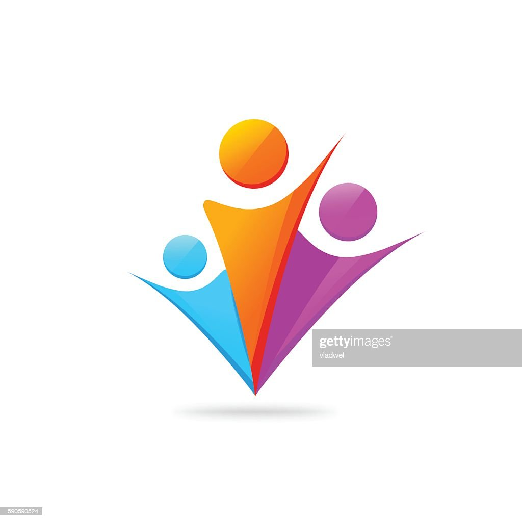 Three happy people with hands together logo template isolated