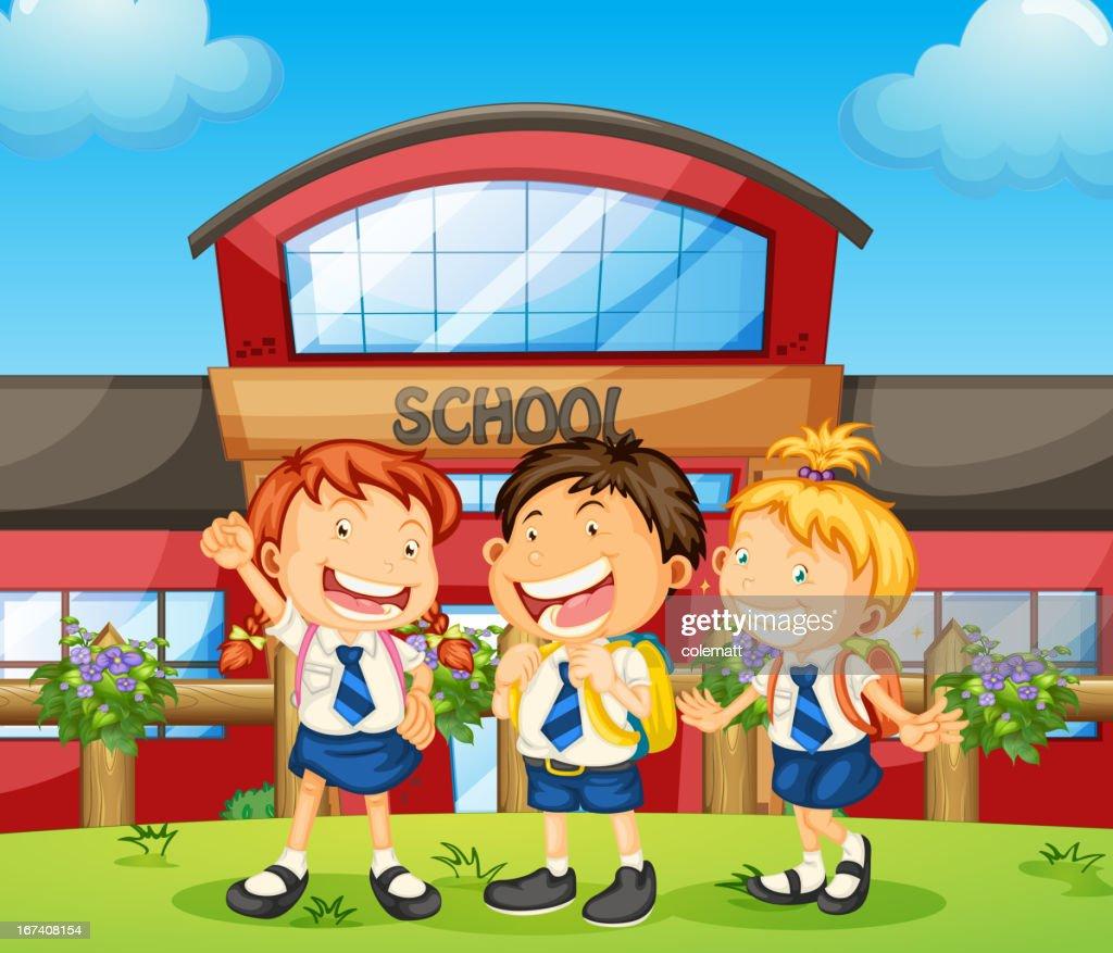 Three happy students : Vector Art