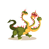 Three headed dragon ancient mythical creature cartoon vector Illustration on a white background