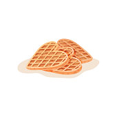 Three homemade heart-shaped waffles. Freshly baked snack for breakfast. Flat vector element for cafe menu or pastry shop poster