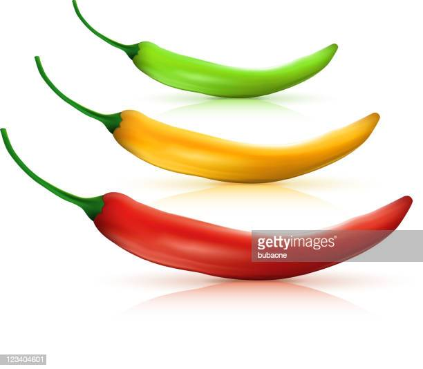 three hot chili peppers on white background - red chili pepper stock illustrations, clip art, cartoons, & icons