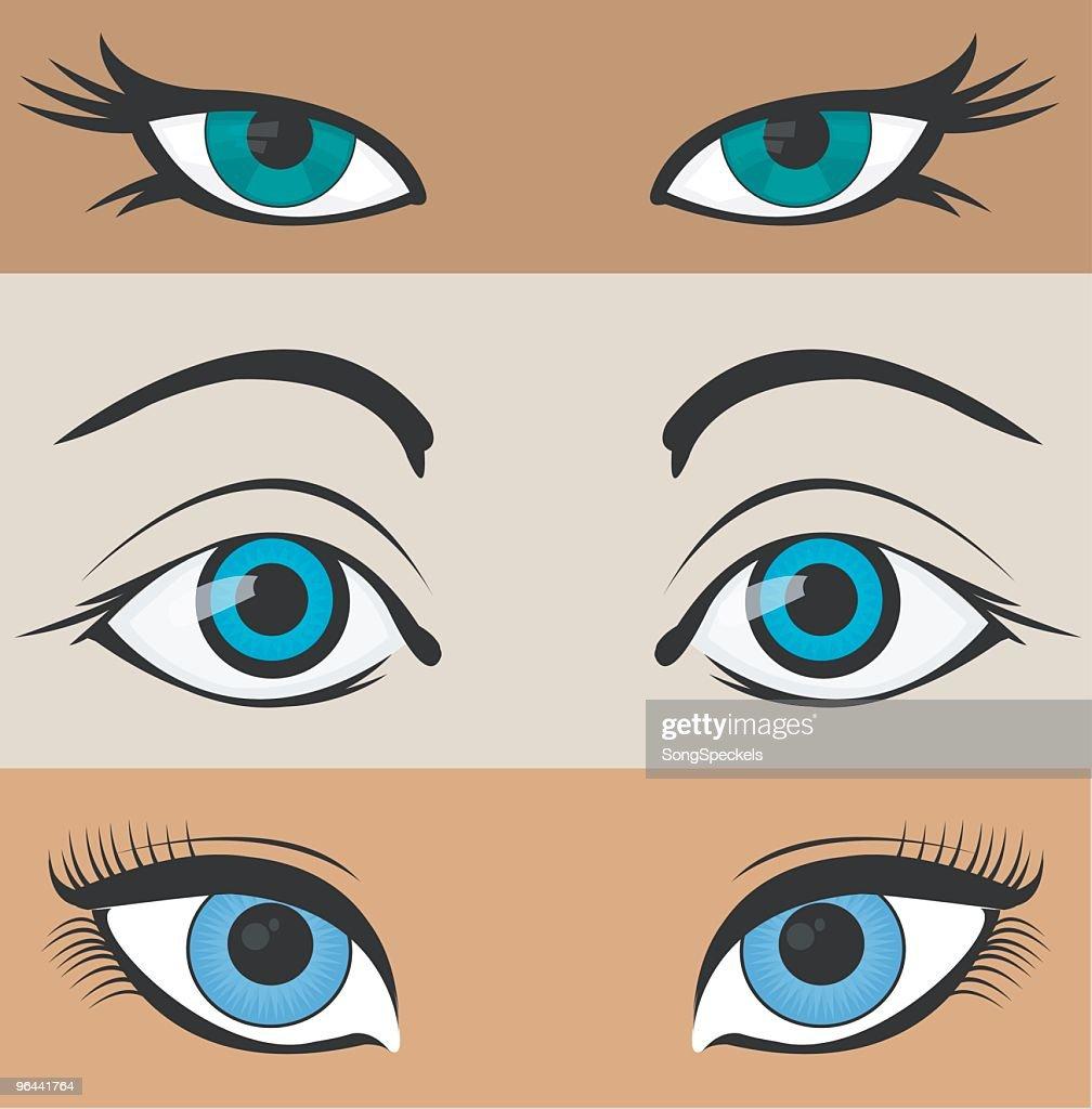 Three illustrated pairs of eyes : stock illustration