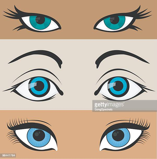 Three illustrated pairs of eyes