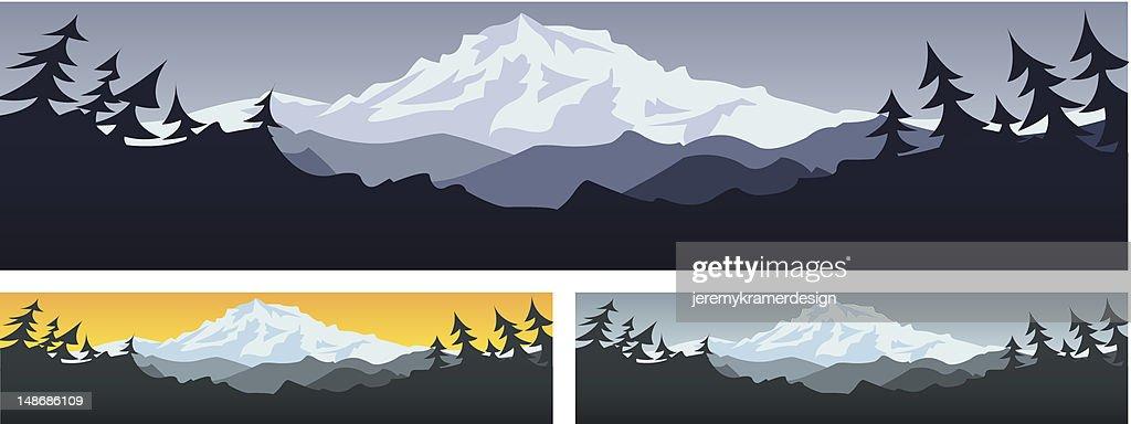 Three illustrations of mountain scenery