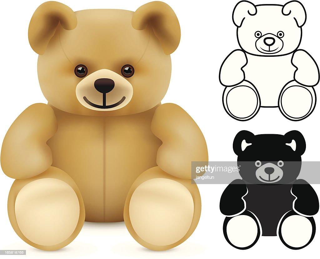 Three illustrations of teddy bears