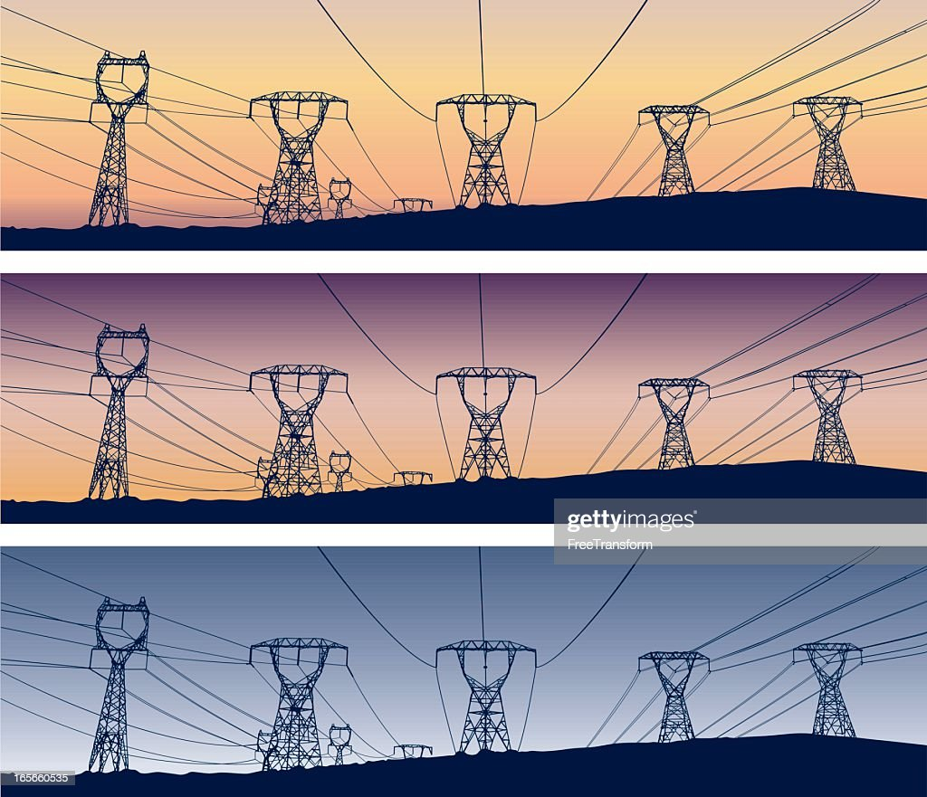 Three images of five power lines in various stages of sunset