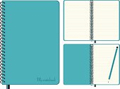Three images of the same blue notebook