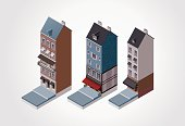 Three isometric buildings against white background