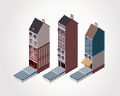 Three isometric buildings isolated on white background