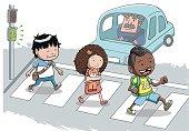 Three Kids crossing the street