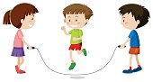 Three kids jumping rope