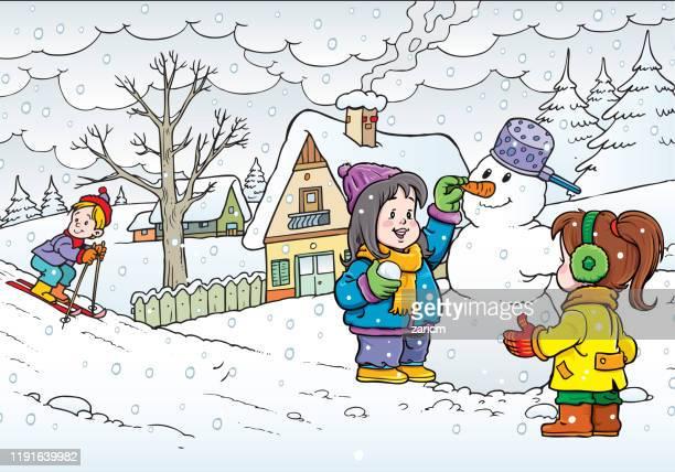 illustrations, cliparts, dessins animés et icônes de trois gosses jouant dans la neige - ski humour
