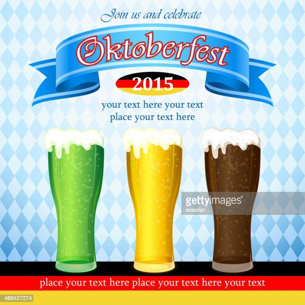 three kinds of oktoberfest beers - lager stock illustrations, clip art, cartoons, & icons