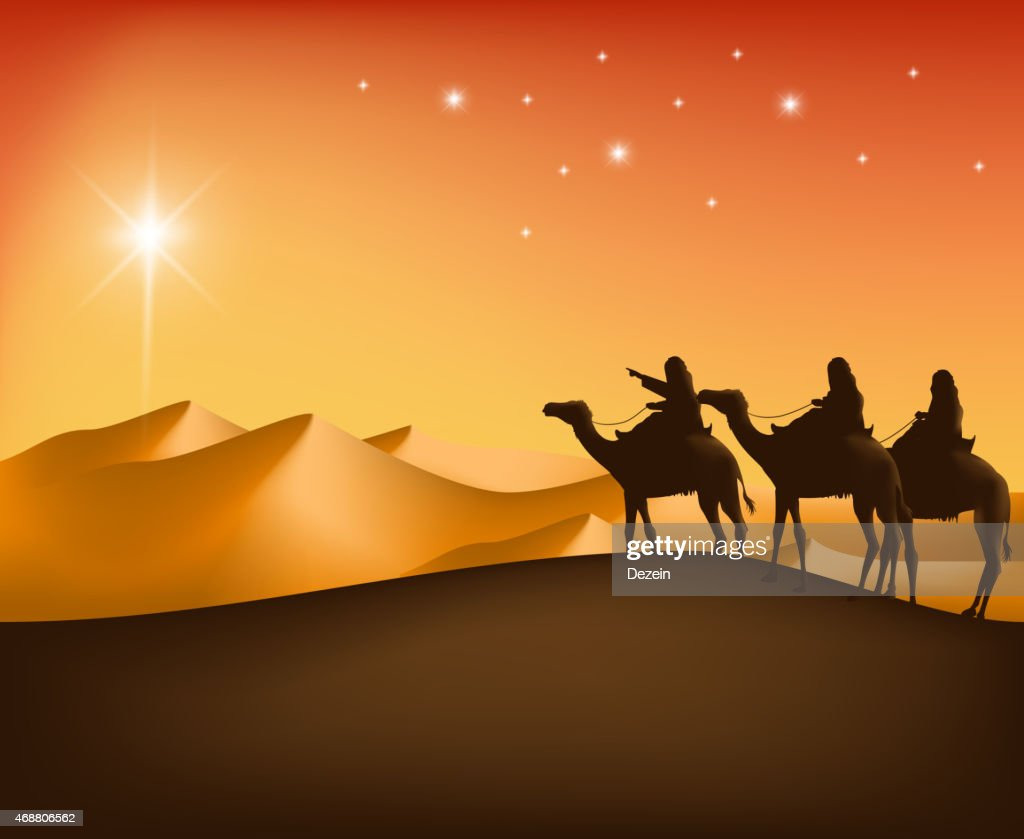 Three Kings riding camels through the desert toward a star