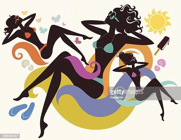 three ladies. - beach holiday stock illustrations, clip art, cartoons, & icons