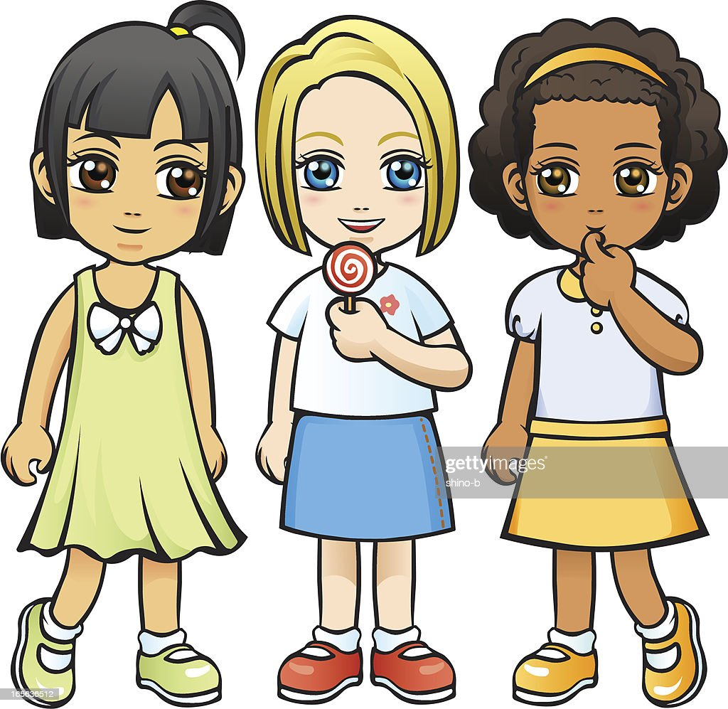 Three Little Girls without background