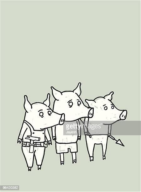 three little pigs - three animals stock illustrations