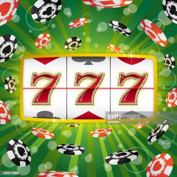 three lucky sevens on a green background with poker chips - jackpot stock illustrations, clip art, cartoons, & icons