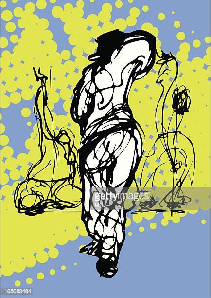ilustraciones, imágenes clip art, dibujos animados e iconos de stock de macho de tres bailarines urbana - baile moderno