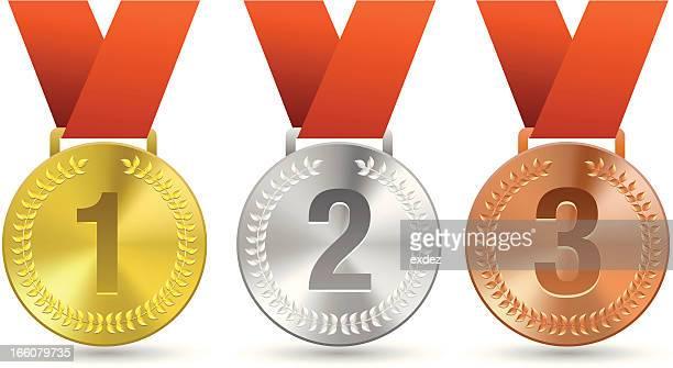 drei medaillen für sport - erster platz stock-grafiken, -clipart, -cartoons und -symbole