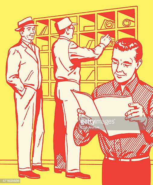 three men at mailboxes - post office stock illustrations, clip art, cartoons, & icons