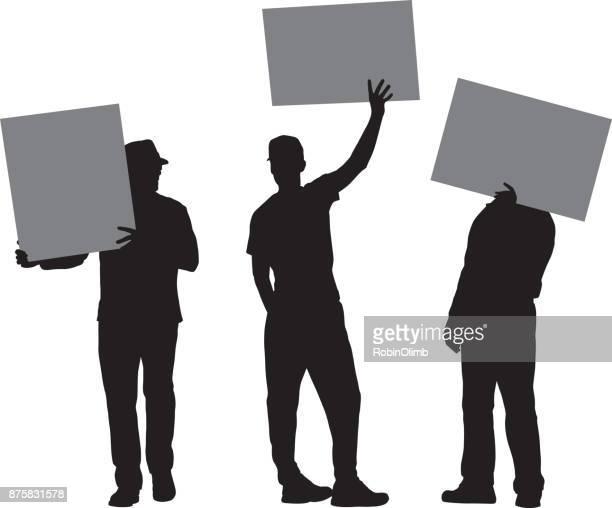 three men holding protest signs - protestor stock illustrations, clip art, cartoons, & icons