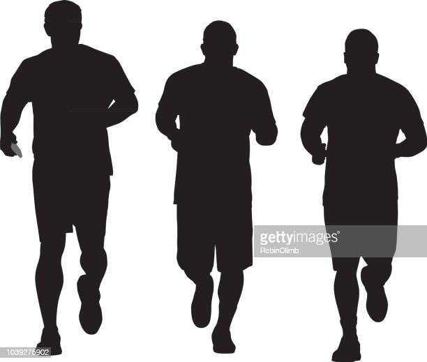 Three Men Jogging Silhouette
