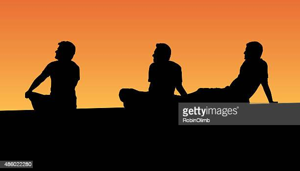 three men sitting on dock at sunset - dipping stock illustrations, clip art, cartoons, & icons