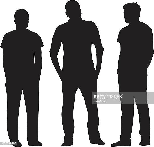 three men standing silhouettes - three people stock illustrations