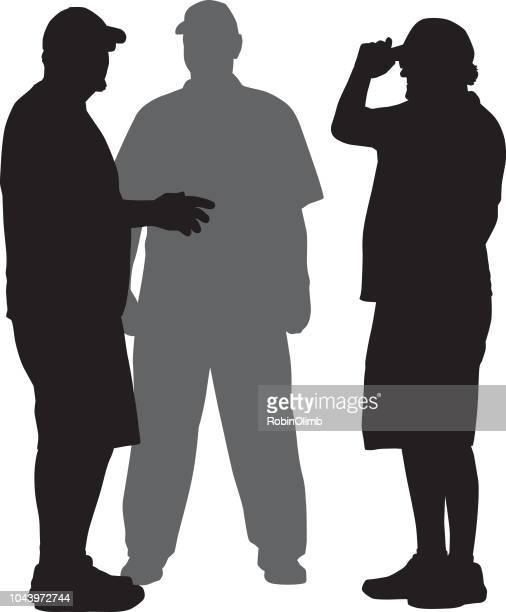 Drei Männer sprechen Silhouette
