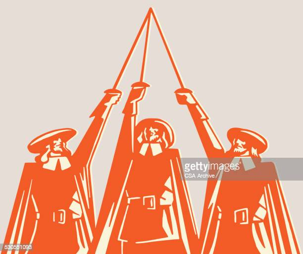 three musketeers raising swords - three people stock illustrations