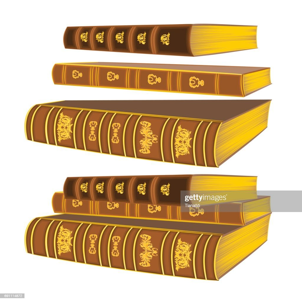 Three old leather-bound books vintage hand draw vector